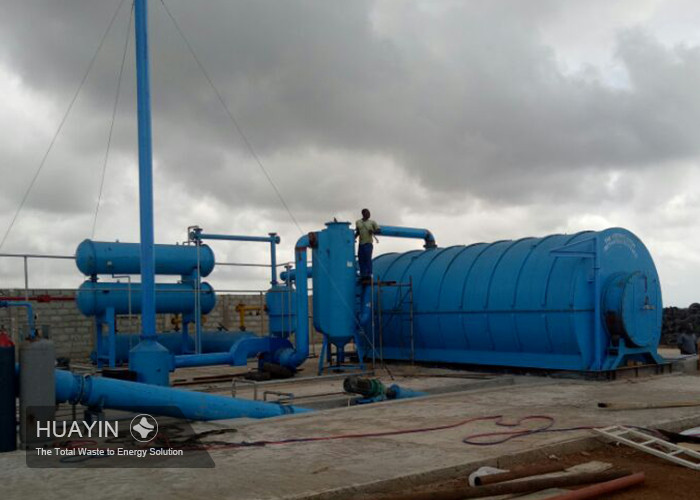 Tire to oil pyrolysis plant installation