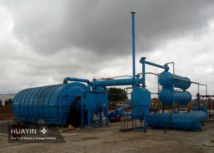 Huayin waste tire pyrolysis plant in the customer's site