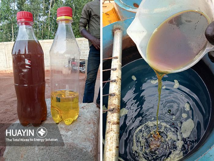 Light color oil after distillation
